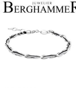 Unico Armband Schwarz/Hellgrau 925 Silber rhodiniert 20200920