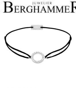 Filo Armband Textil Schwarz Kreis 925 Silber rhodiniert 21203458