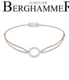 Filo Armband Textil Beige Kreis 925 Silber rhodiniert 21203463