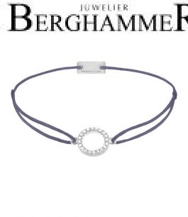 Filo Armband Textil Grau-Lila Kreis 925 Silber rhodiniert 21203465