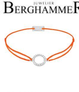 Filo Armband Textil Neon-Orange Kreis 925 Silber rhodiniert 21203480