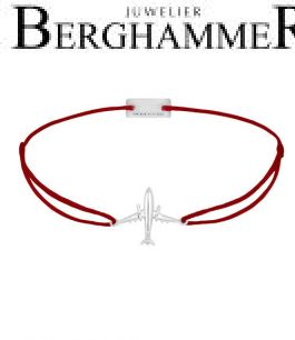 Filo Armband Textil Weinrot Flugzeug 925 Silber rhodiniert 21204112