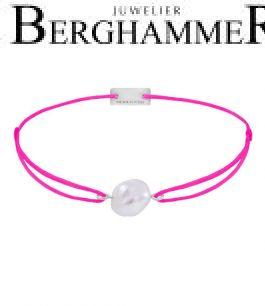 Filo Armband Textil Neon-Pink Süßwasserperle 925 Silber rhodiniert 21204490
