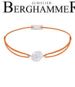 Filo Armband Textil Neon-Orange Süßwasserperle 925 Silber rhodiniert 21204491