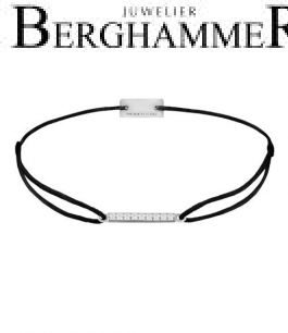 Filo Armband Textil Schwarz Line 925 Silber rhodiniert 21204493