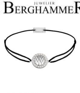Filo Armband Textil Schwarz Shine 925 Silber rhodiniert 21204541