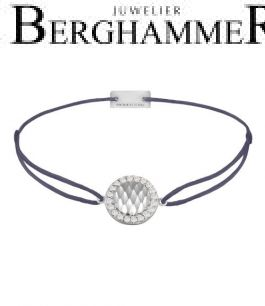 Filo Armband Textil Grau-Lila Shine 925 Silber rhodiniert 21204548