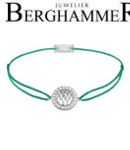Filo Armband Textil Grasgrün Shine 925 Silber rhodiniert 21204557