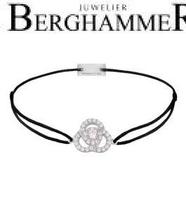 Filo Armband Textil Schwarz Blume 925 Silber rhodiniert 21204589