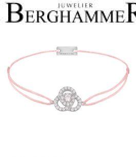Filo Armband Textil Rosa Blume 925 Silber rhodiniert 21204591
