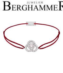 Filo Armband Textil Weinrot Blume 925 Silber rhodiniert 21204592