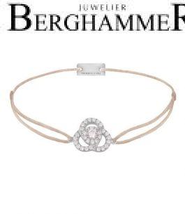 Filo Armband Textil Beige Blume 925 Silber rhodiniert 21204594