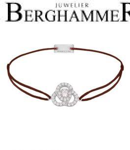 Filo Armband Textil Braun Blume 925 Silber rhodiniert 21204595