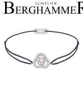 Filo Armband Textil Grau-Lila Blume 925 Silber rhodiniert 21204596