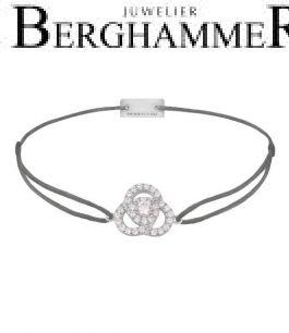 Filo Armband Textil Anthrazit Blume 925 Silber rhodiniert 21204597