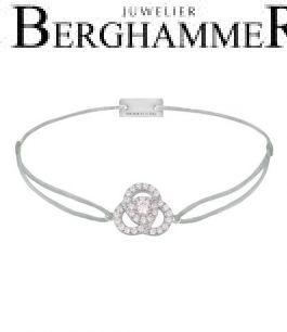 Filo Armband Textil Hellgrau Blume 925 Silber rhodiniert 21204598