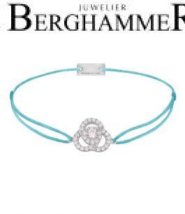 Filo Armband Textil Hellblau Blume 925 Silber rhodiniert 21204601