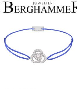 Filo Armband Textil Blitzblau Blume 925 Silber rhodiniert 21204602