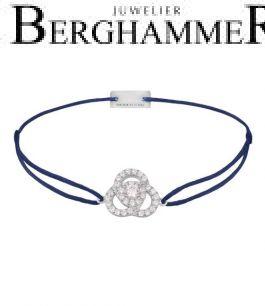 Filo Armband Textil Dunkelblau Blume 925 Silber rhodiniert 21204603