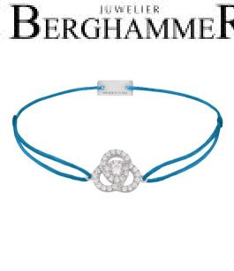 Filo Armband Textil Petrol Blume 925 Silber rhodiniert 21204604