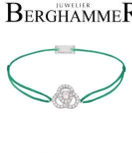 Filo Armband Textil Grasgrün Blume 925 Silber rhodiniert 21204605