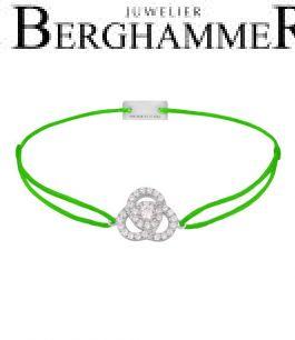 Filo Armband Textil Neon-Grün Blume 925 Silber rhodiniert 21204606