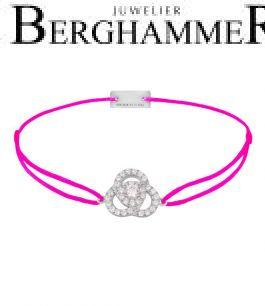 Filo Armband Textil Neon-Pink Blume 925 Silber rhodiniert 21204610