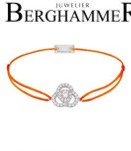 Filo Armband Textil Neon-Orange Blume 925 Silber rhodiniert 21204611