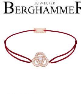 Filo Armband Textil Weinrot Blume 925 Silber roségold vergoldet 21204616