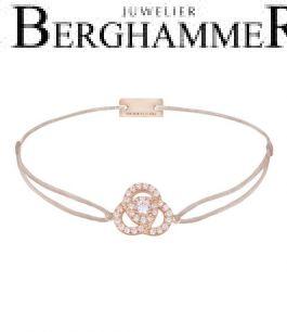 Filo Armband Textil Beige Blume 925 Silber roségold vergoldet 21204618