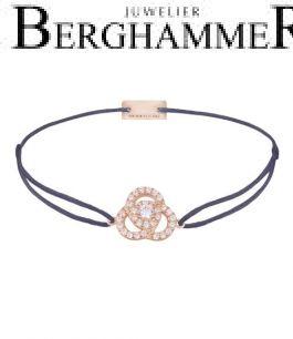 Filo Armband Textil Grau-Lila Blume 925 Silber roségold vergoldet 21204620