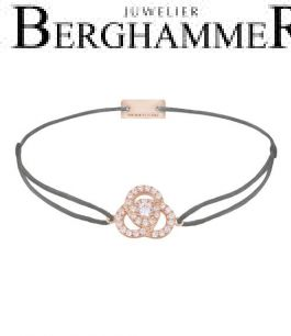Filo Armband Textil Anthrazit Blume 925 Silber roségold vergoldet 21204621