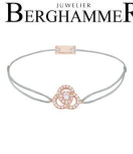 Filo Armband Textil Hellgrau Blume 925 Silber roségold vergoldet 21204622