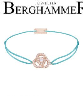 Filo Armband Textil Hellblau Blume 925 Silber roségold vergoldet 21204625