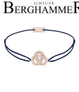 Filo Armband Textil Dunkelblau Blume 925 Silber roségold vergoldet 21204627