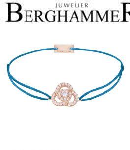 Filo Armband Textil Petrol Blume 925 Silber roségold vergoldet 21204628