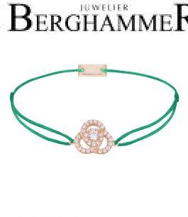 Filo Armband Textil Grasgrün Blume 925 Silber roségold vergoldet 21204629