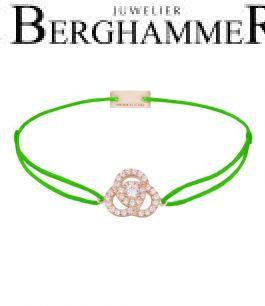 Filo Armband Textil Neon-Grün Blume 925 Silber roségold vergoldet 21204630