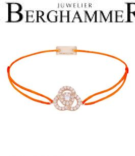 Filo Armband Textil Neon-Orange Blume 925 Silber roségold vergoldet 21204635