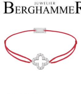 Filo Armband Textil Rot Cloverleaf 925 Silber rhodiniert 21204638