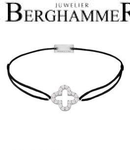 Filo Armband Textil Schwarz Cloverleaf 925 Silber rhodiniert 21204639