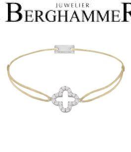 Filo Armband Textil Champagne Cloverleaf 925 Silber rhodiniert 21204640