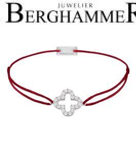 Filo Armband Textil Weinrot Cloverleaf 925 Silber rhodiniert 21204642