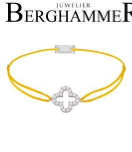 Filo Armband Textil Gelb Cloverleaf 925 Silber rhodiniert 21204643