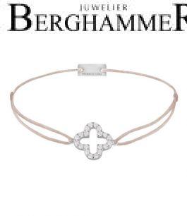 Filo Armband Textil Beige Cloverleaf 925 Silber rhodiniert 21204644