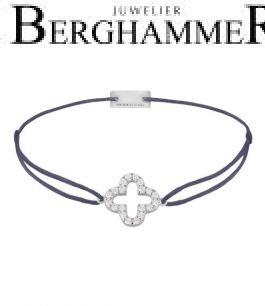 Filo Armband Textil Grau-Lila Cloverleaf 925 Silber rhodiniert 21204646