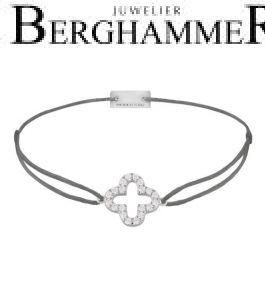 Filo Armband Textil Anthrazit Cloverleaf 925 Silber rhodiniert 21204647