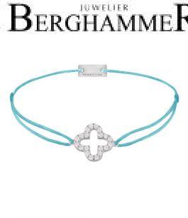 Filo Armband Textil Hellblau Cloverleaf 925 Silber rhodiniert 21204651