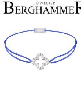 Filo Armband Textil Blitzblau Cloverleaf 925 Silber rhodiniert 21204652