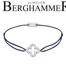 Filo Armband Textil Dunkelblau Cloverleaf 925 Silber rhodiniert 21204653